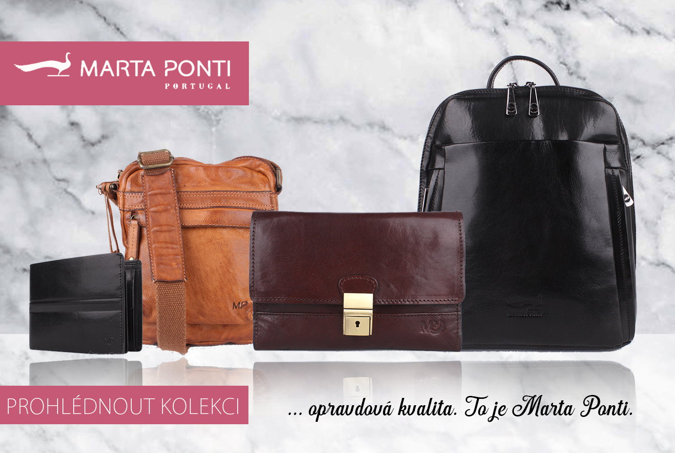 Luxusní kabelky, batohy, peněženky a pánské aktovky Marta Ponti