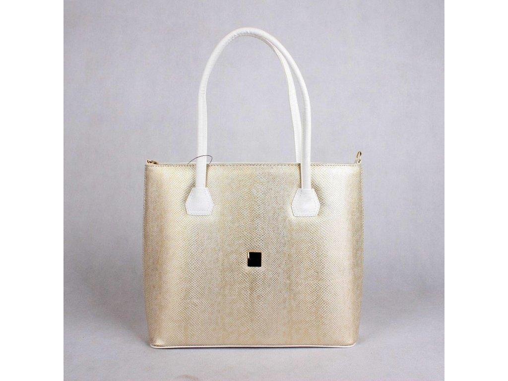 Dámská kabelka Grosso na rameno i do ruky 7006 zlatá-bílá e6ac6e7bad