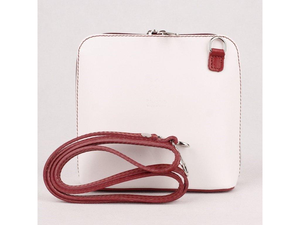4cb539e446 Kožená crossbody kabelka no. 55 bílo-červená