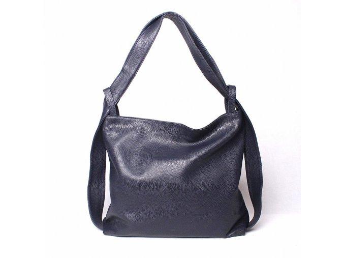 Kabelka a batoh v 1 - velká kožená kabelka na rameno a batoh 12 tmavěmodrá