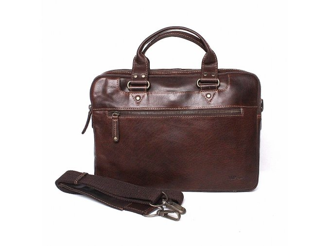 Luxusní kožená hladká business taška (aktovka) Marta Ponti 009 hnědá