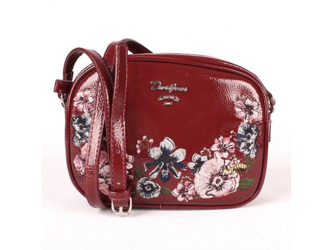 Malá crossbody kabelka s květinami David Jones CM4081 tmavěčervená