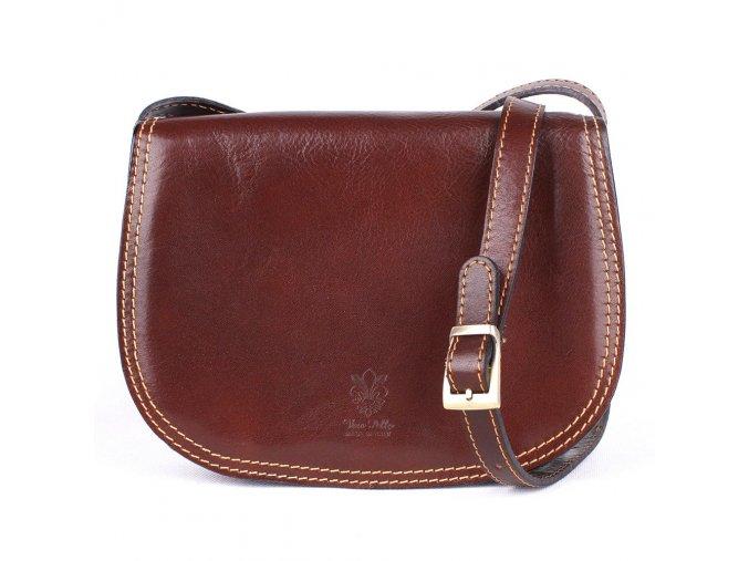 Crossbody kožená kabelka no. 49 tmavěhnědá