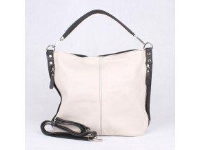 Kožená kabelka na rameno i crossbody 7733 béžovo-černá