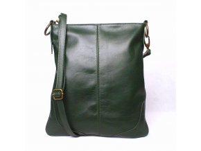 Velká kožená crossbody kabelka Vera Pelle no. 5509 zelená