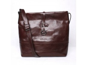 Luxusní dámská kabelka na rameno Marta Ponti no. 108 tmavěhnědá