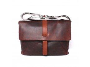 Velká luxusní kožená hladká crossbody taška Marta Ponti 004 tmavěhnědá