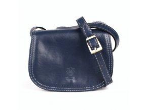 Crossbody kožená kabelka no. 46 tmavěmodrá