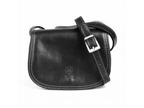 Crossbody kožená kabelka no. 46 černá