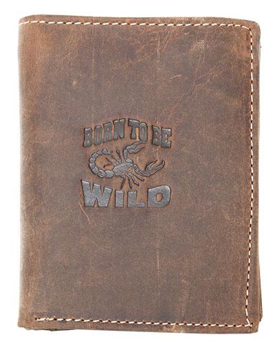 Peněženka Born to be Wild hnědá se škorpiónem (na výšku)