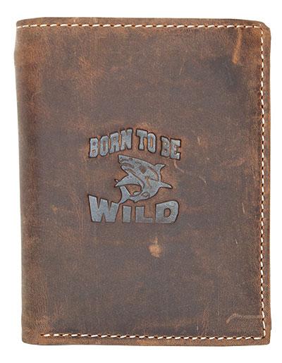 Peněženka Born to be Wild hnědá se žralokem (na výšku)