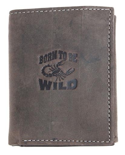 Pánská kožená peněženka Born to be Wild šedohnědá se škorpiónem