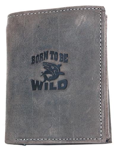 Kožená pánská peněženka Born to be Wild šedohnědá se žralokem