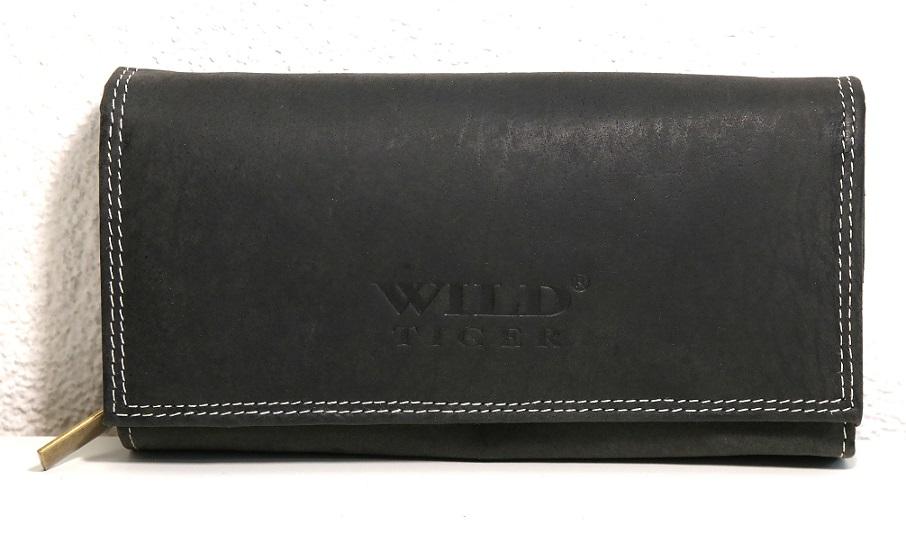 Kožená peněženka Wild Tiger černá XL
