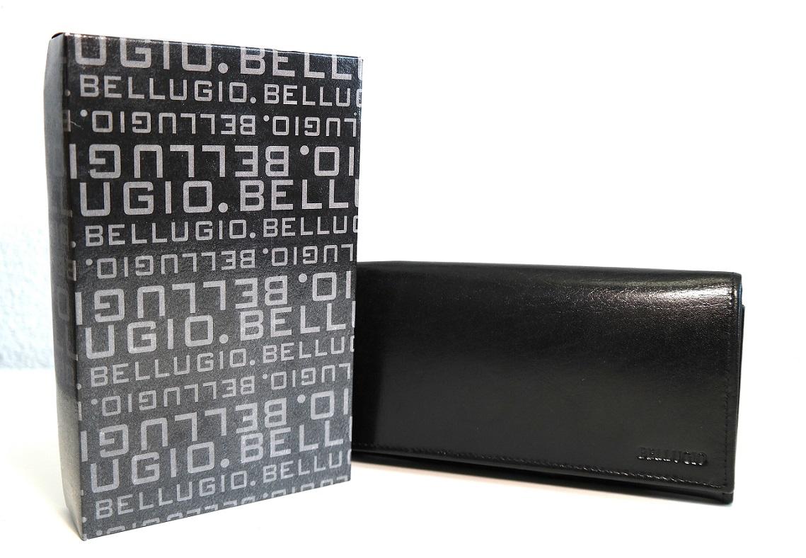 Kožená peněženka BELLUGIO černá mírně lesklá s kapsičkou na mince na zip