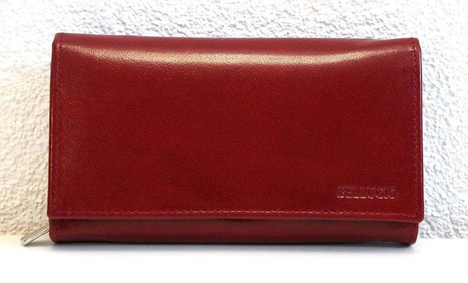 Kožená peněženka BELLUGIO tmavěčervená mírně lesklá