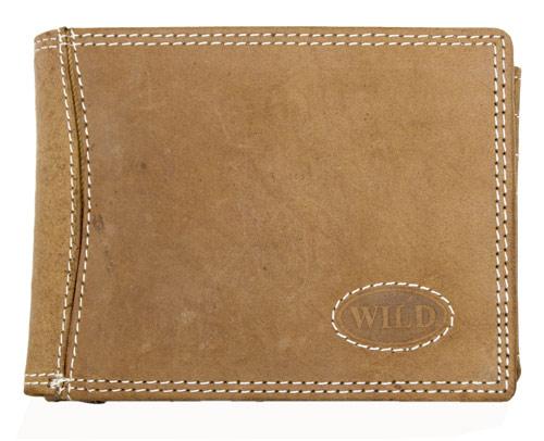 Pánská kožená peněženka Wild světlehnědá s logem