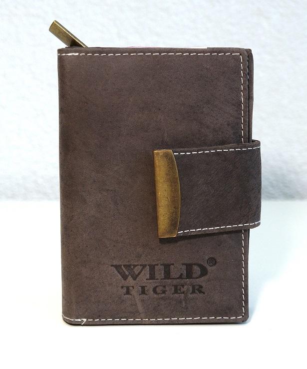 Kožená dámská peněženka Wild Tiger tmavěhnědá s upínkou