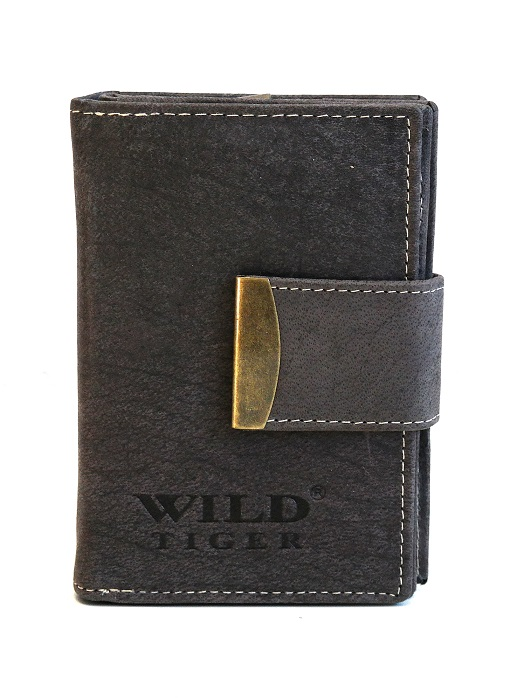 Kožená dámská peněženka Wild Tiger šedá s upínkou