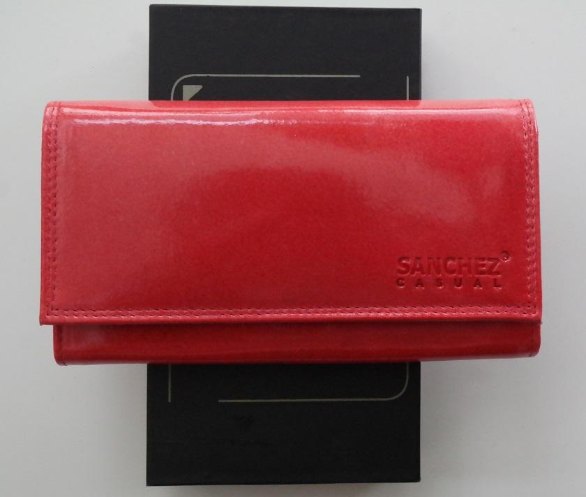 Lesklá dámská kožená peněženka SANCHEZ Casual červená