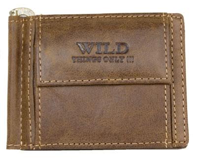 Kožená pánská hnědá dolarovka peněženka Wild Things only