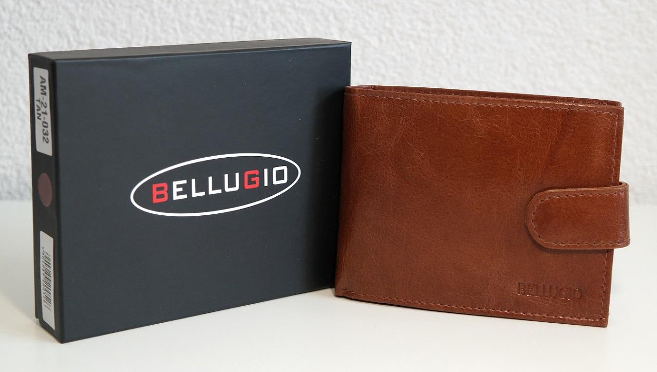 Kožená pánská peněženka Bellugio světlehnědá s upínkou