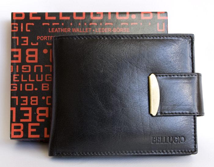 Kožená pánská peněženka Bellugio černá s upínkou