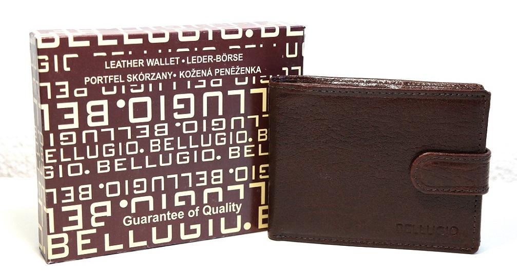 Malá kožená pánská peněženka Bellugio tmavěhnědá