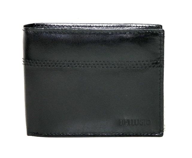 Kožená pánská peněženka Bellugio černá mírně lesklá