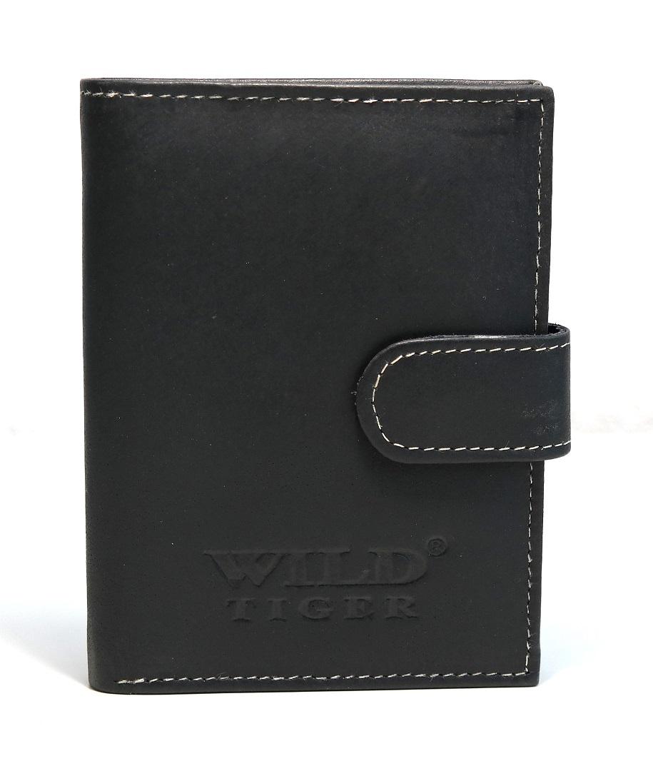 Pánská kožená peněženka Wild Tiger černá s upínkou