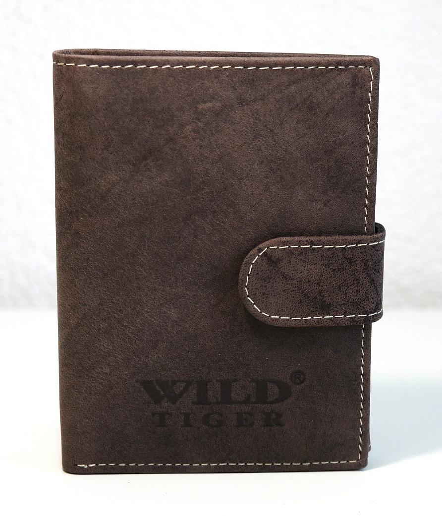 Pánská kožená peněženka Wild Tiger tmavěhnědá s upínkou