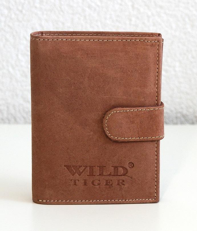 Kožená pánská peněženka Wild Tiger světlehnědá s upínkou