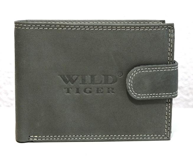 Kožená pánská peněženka Wild Tiger šedá s upínkou