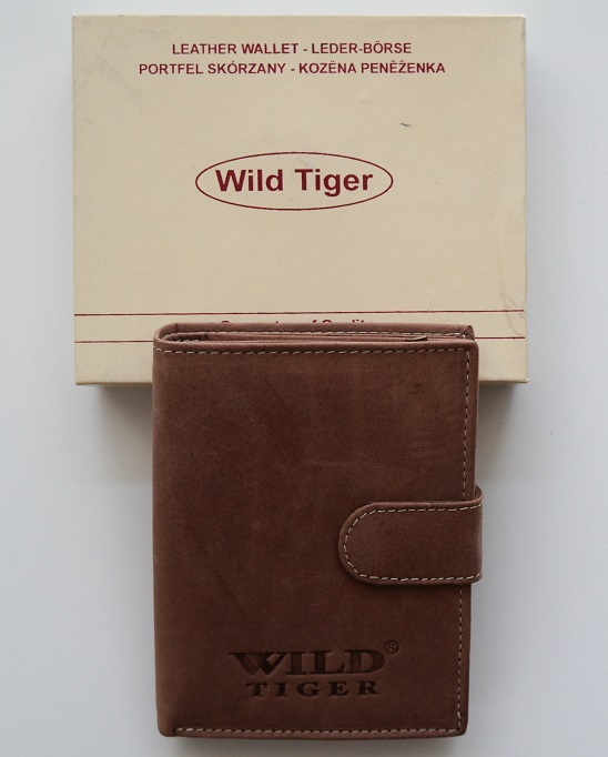 Pánská kožená peněženka Wild Tiger světlehnědá s upínkou
