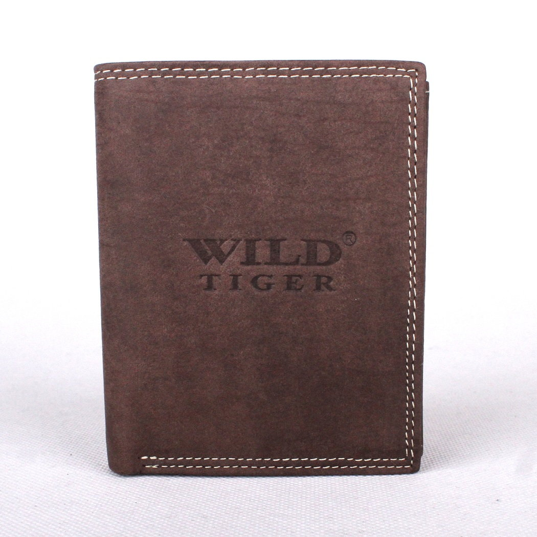 Kožená pánská peněženka Wild Tiger tmavěhnědá na výšku