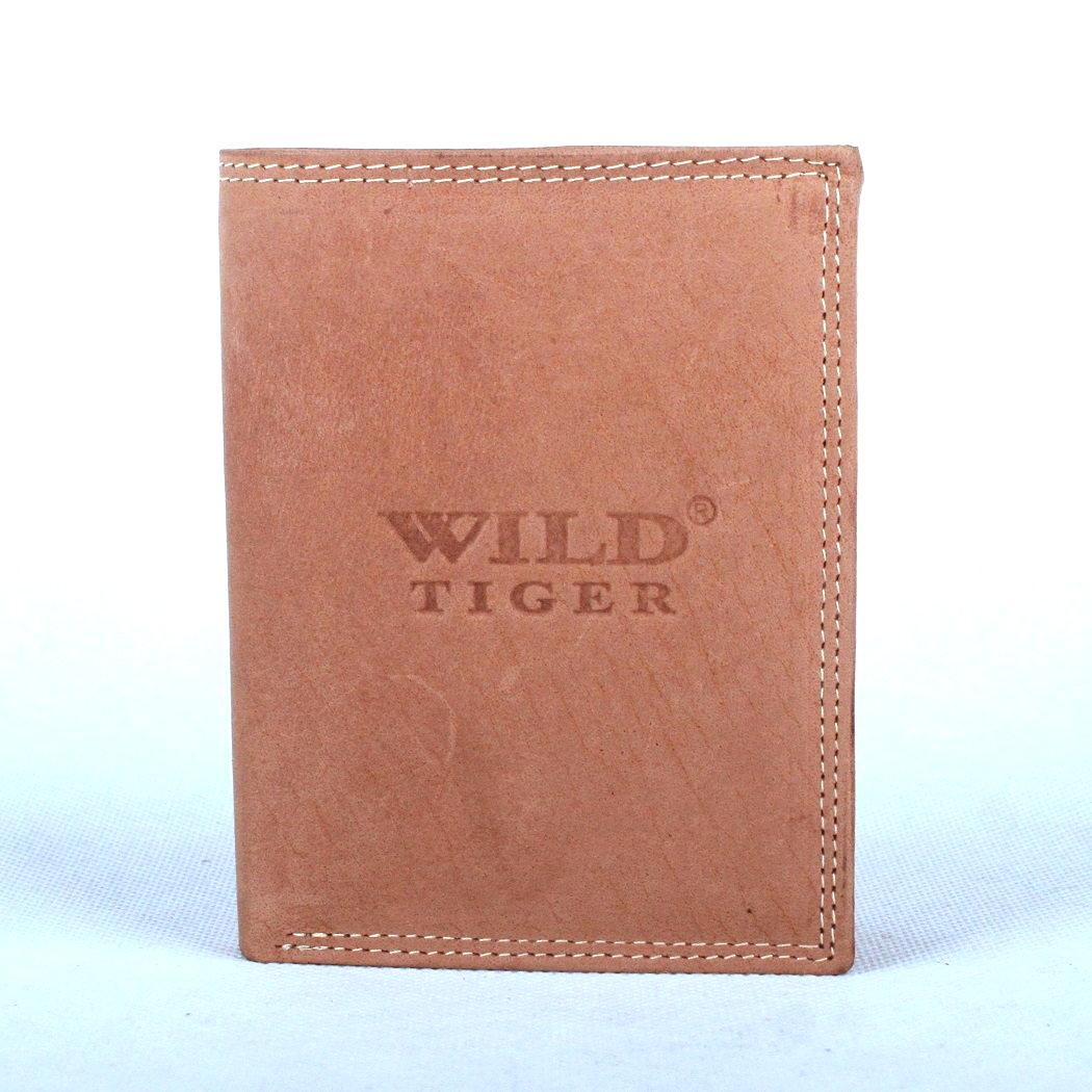 Pánská kožená peněženka Wild Tiger světlehnědá na výšku