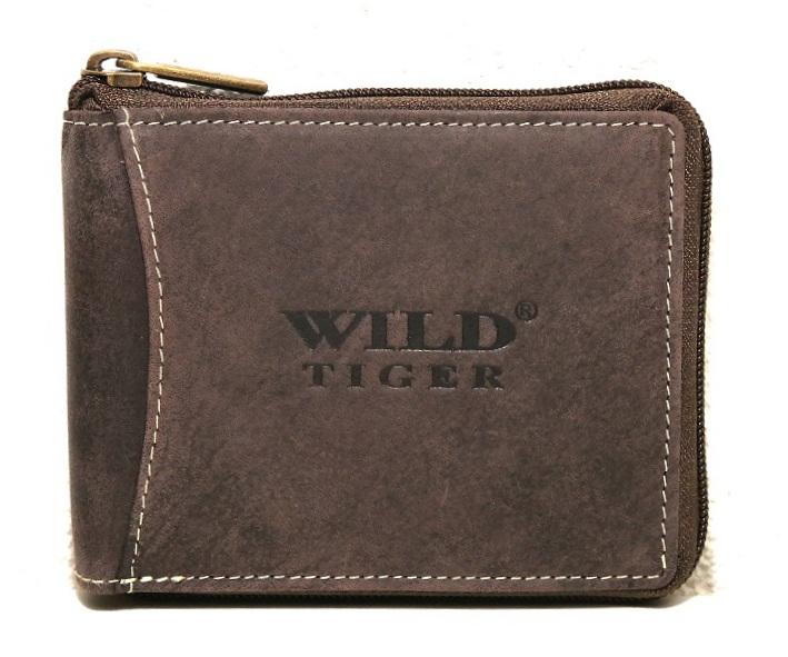 Kožená pánská peněženka Wild Tiger tmavěhnědá (celozipová)