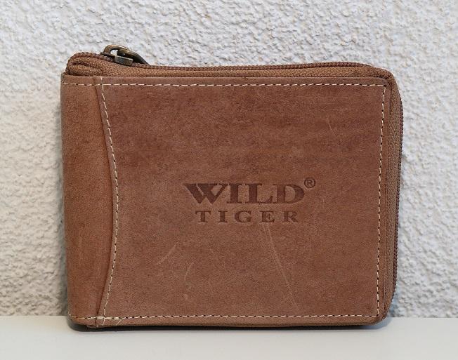 Pánská kožená peněženka Wild Tiger světlehnědá (celozipová)
