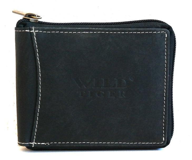 Kožená pánská peněženka Wild Tiger černá (celozipová)