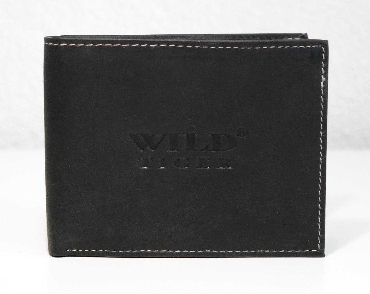 Pánská kožená peněženka Wild Tiger černá podélná bez zapínání.