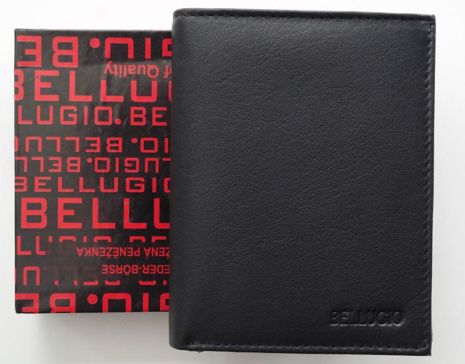 Kožená pánská peněženka Bellugio černá bez uzavírání na výšku