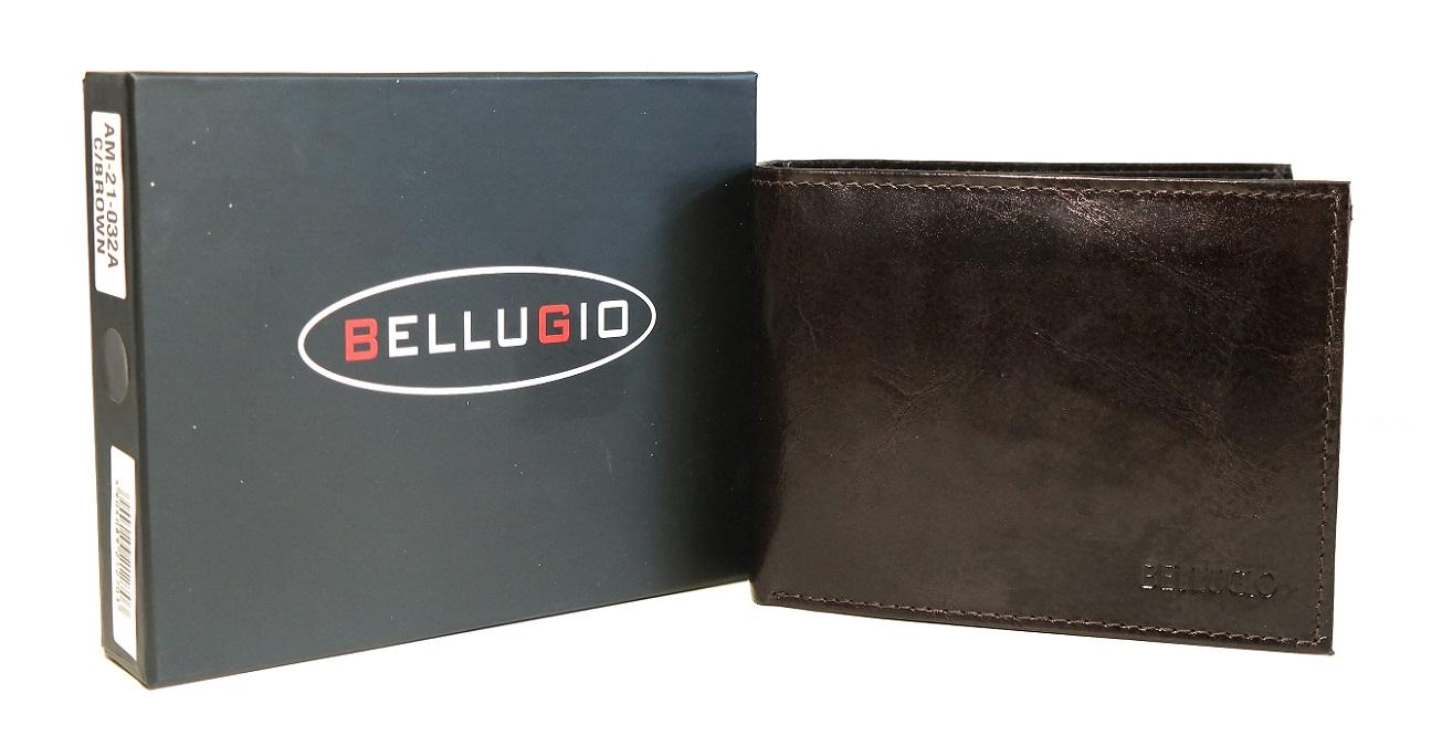 Kožená pánská peněženka Bellugio tmavěhnědá podélná bez uzavírání