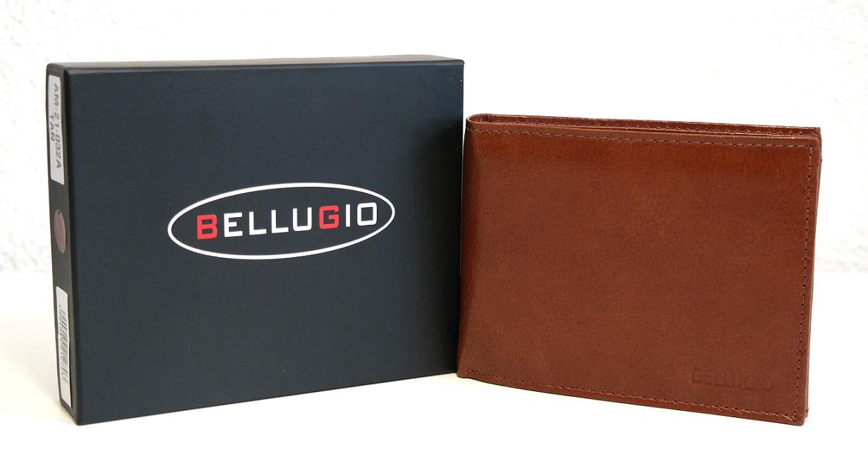 Pánská kožená peněženka Bellugio světlehnědá podélná bez uzavírání