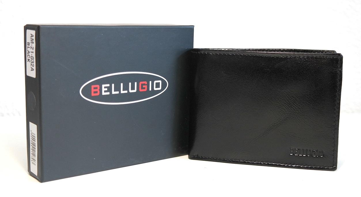 Pánská kožená peněženka Bellugio černá podélná bez uzavírání