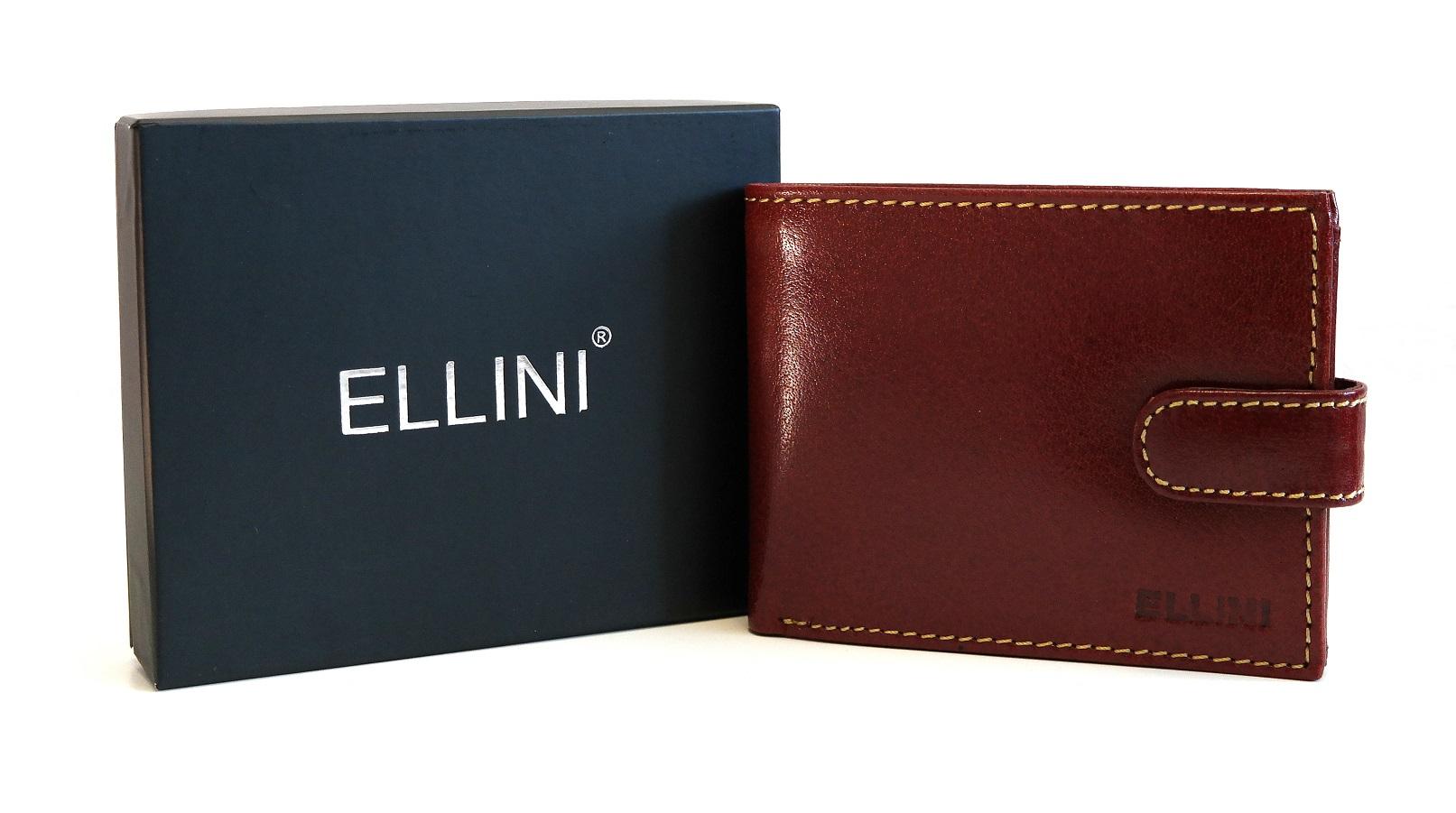 Pánská kožená peněženka ELLINI hnědá s upínkou