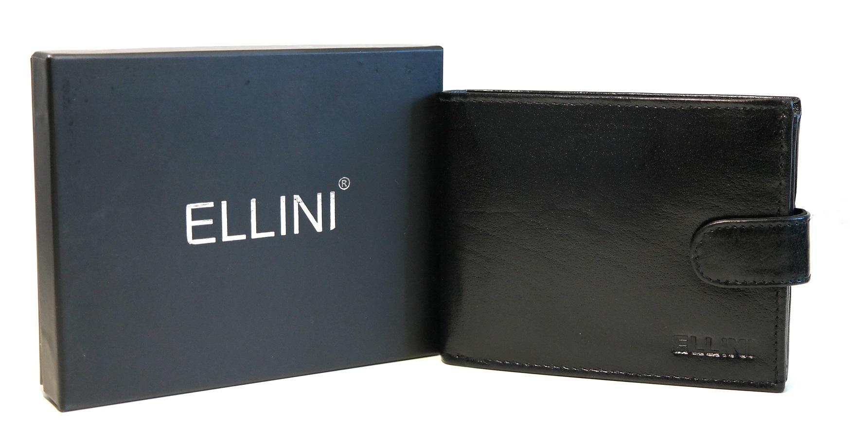 Pánská kožená peněženka ELLINI černá s upínkou