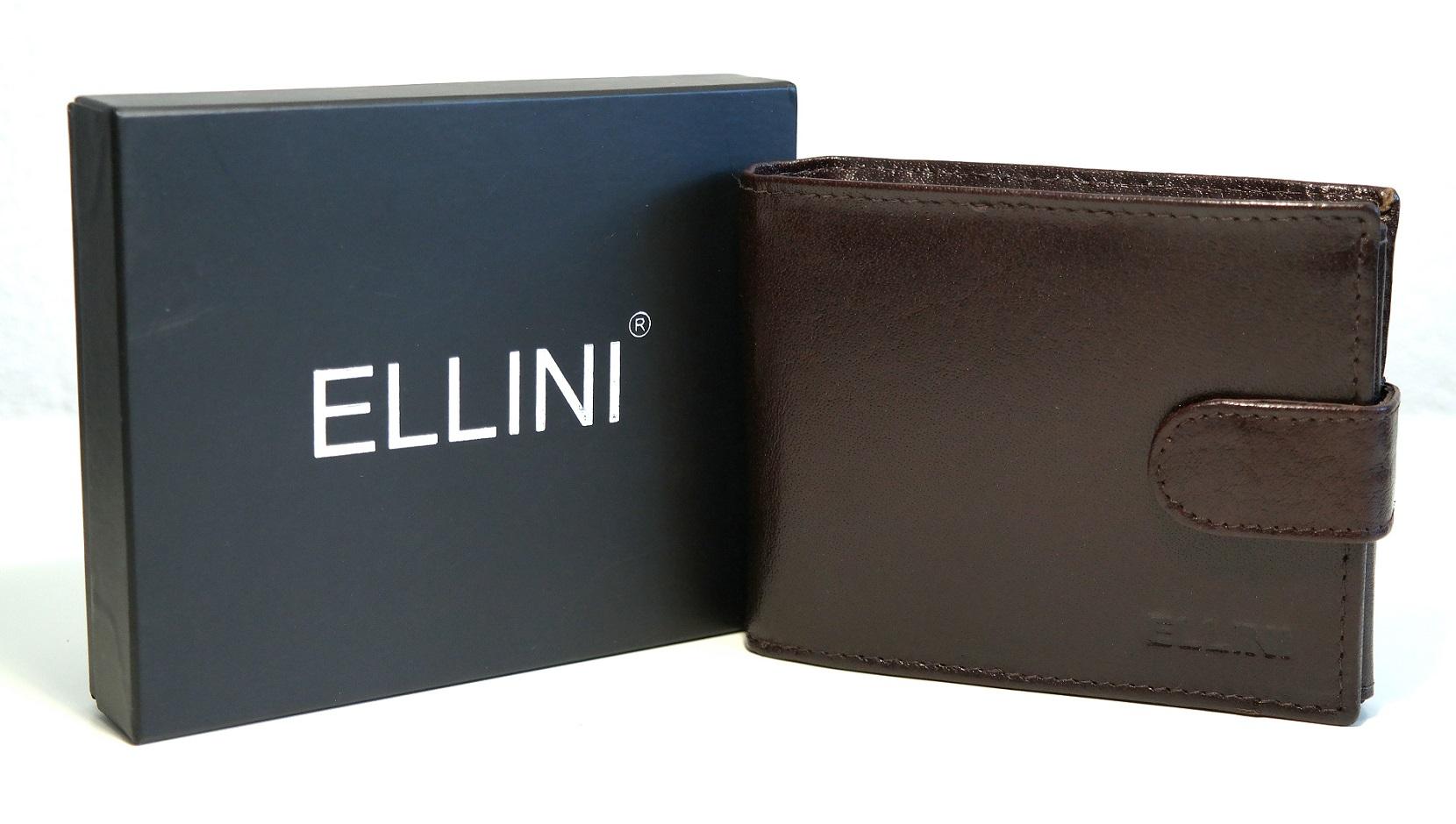 Pánská kožená peněženka ELLINI tmavěhnědá s upínkou