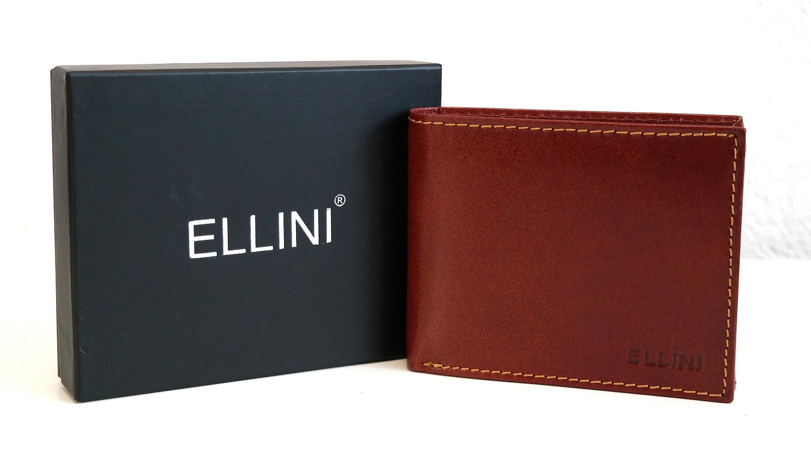 Kožená pánská peněženka ELLINI hnědá bez uzavírání