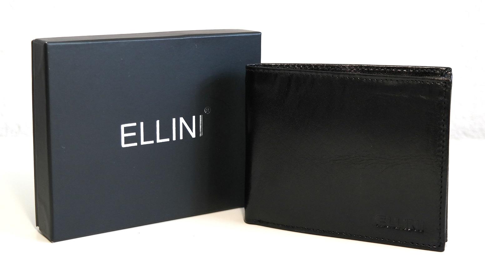 Kožená pánská peněženka ELLINI černá bez uzavírání