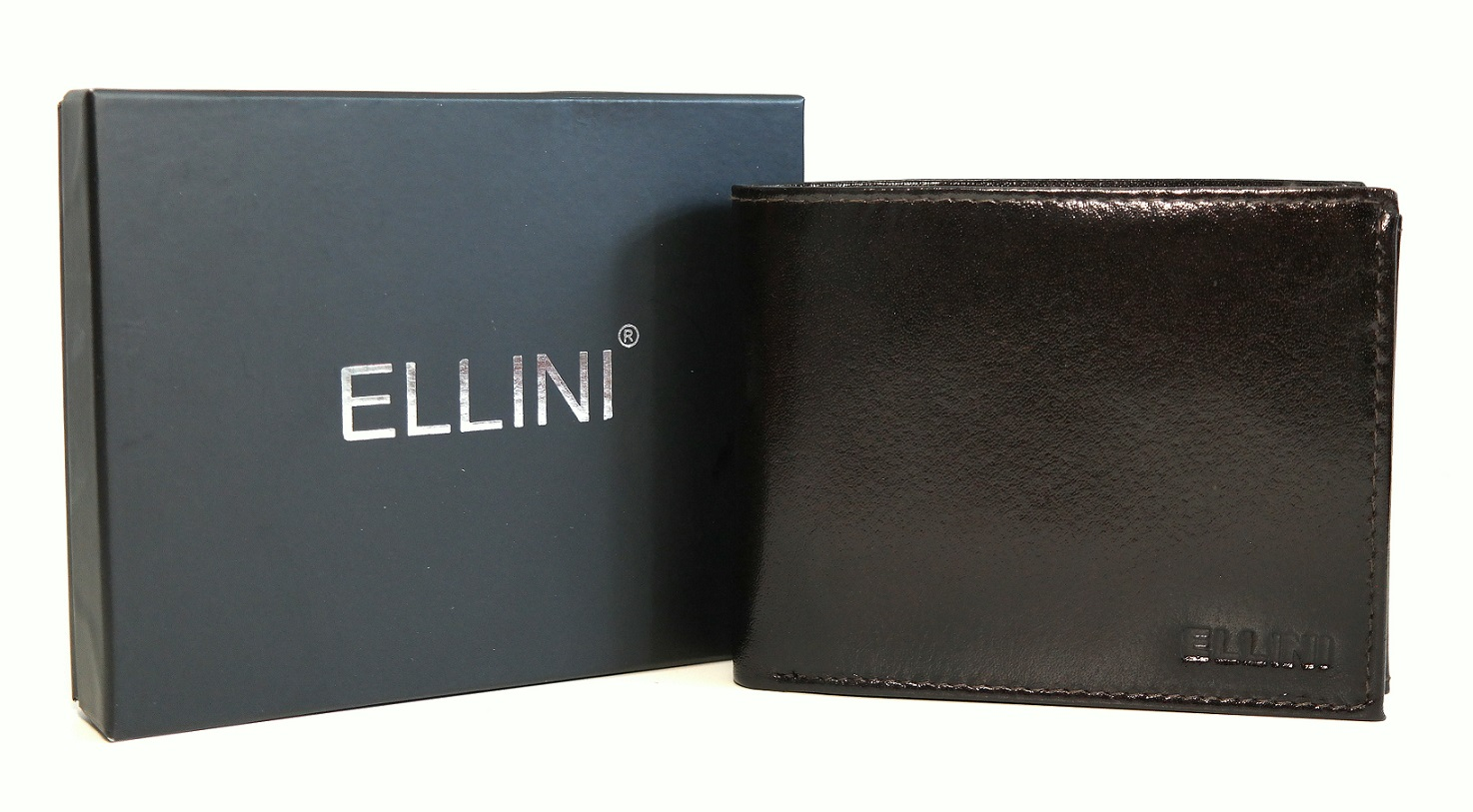 Kožená pánská peněženka ELLINI tmavěhnědá bez uzavírání